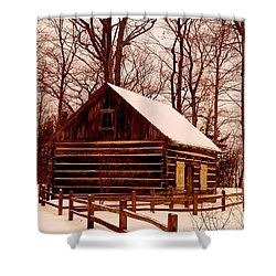 The Log Cabin At Old Mission Point Shower Curtain