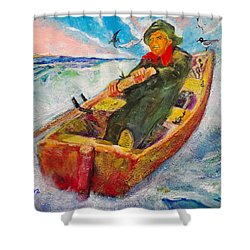 The Lone Boatman Shower Curtain