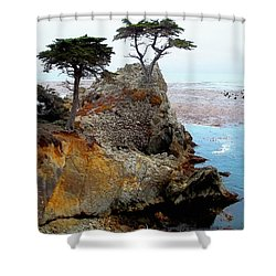 The Lone Cypress - Pebble Beach Shower Curtain by Glenn McCarthy Art and Photography