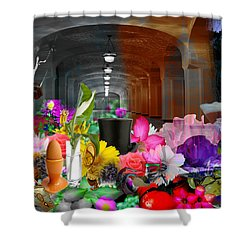Shower Curtain featuring the digital art The Long Collage by Cathy Anderson