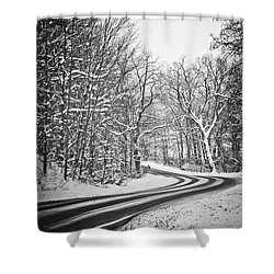 The Long Road Of Winter Shower Curtain by Sara Frank