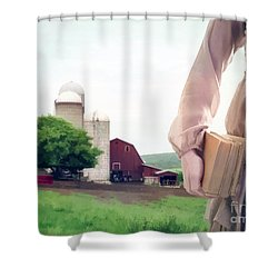 The Long Walk To School Shower Curtain by Edward Fielding