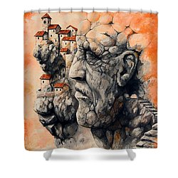 The Lost City - The Sentinel Shower Curtain by Emerico Imre Toth