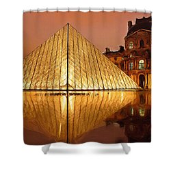 The Louvre By Night Shower Curtain by Ayse Deniz
