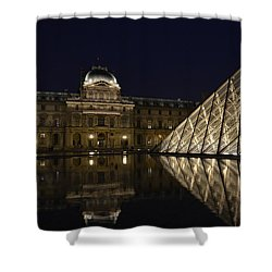 The Louvre Palace And The Pyramid At Night Shower Curtain by RicardMN Photography