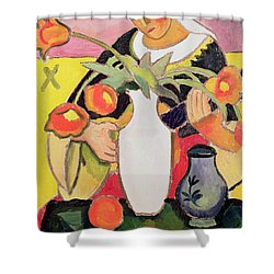 The Lute Player Shower Curtain by August Macke