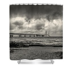 The Mackinac Bridge B W Shower Curtain