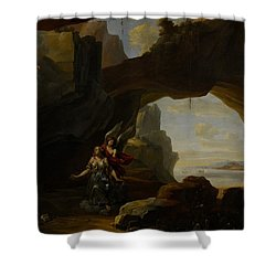 The Magdalen In A Cave Shower Curtain by Johannes Lingelbach