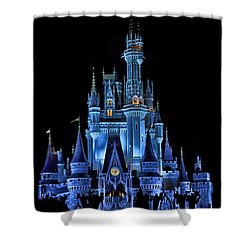 The Magic Kingdom Castle In Very Deep Blue Walt Disney World Fl Shower Curtain by Thomas Woolworth