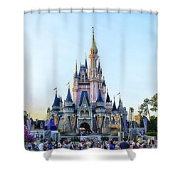 The Magic Kingdom Castle On A Beautiful Summer Day Horizontal Shower Curtain by Thomas Woolworth