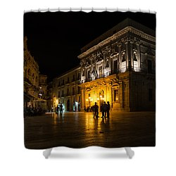 Shower Curtain featuring the photograph The Magical Duomo Square In Ortygia Syracuse Sicily by Georgia Mizuleva