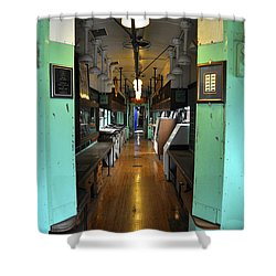 Shower Curtain featuring the photograph The Mail Car From The Series View Of An Old Railroad by Verana Stark