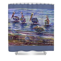 The Majestic Pelican Visit Shower Curtain