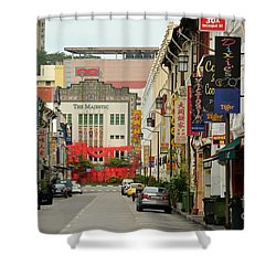 Shower Curtain featuring the photograph The Majestic Theater Chinatown Singapore by Imran Ahmed
