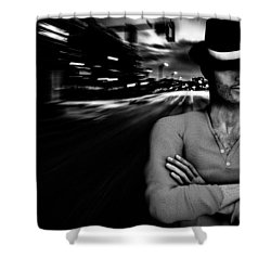 The Man In The Hat Returns Shower Curtain by Bob Orsillo