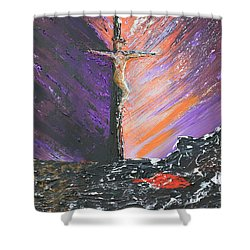 The Man On The Cross Shower Curtain by Alys Caviness-Gober