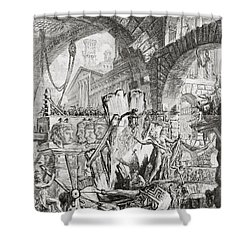The Man On The Rack Plate II From Carceri D'invenzione Shower Curtain by Giovanni Battista Piranesi