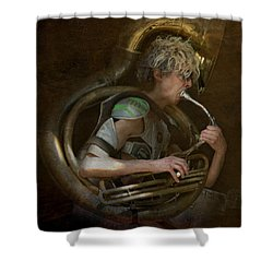 The Man - The Tuba Shower Curtain by Jeff Burgess
