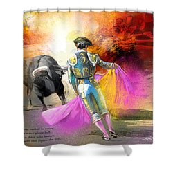 The Man Who Fights The Bull Shower Curtain by Miki De Goodaboom