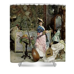 The Mandolin Shop Shower Curtain by Vincenzo Capobianchi