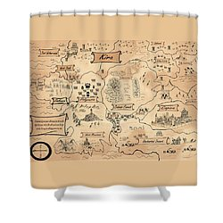 Shower Curtain featuring the painting The Map Of Kira by Reynold Jay