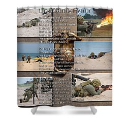 The Marine Corp Hymn Shower Curtain by Thomas Woolworth