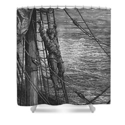 The Mariner Describes To His Listener The Wedding Guest His Feelings Of Loneliness And Desolation  Shower Curtain by Gustave Dore