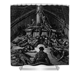 The Mariner Gazes On His Dead Companions And Laments The Curse Of His Survival While All His Fellow  Shower Curtain by Gustave Dore