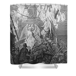 The Mariner Sees The Band Of Angelic Spirits Shower Curtain by Gustave Dore
