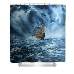 The Mary Rose And Fleet Shower Curtain by Jean Walker