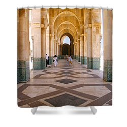 Shower Curtain featuring the photograph The Massive Colonnades At The Hassan II Mosque Sour Jdid Casablanca Morocco by Ralph A  Ledergerber-Photography