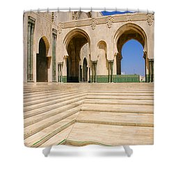 Shower Curtain featuring the photograph The Massive Colonnades Leading To The Hassan II Mosque Sour Jdid Casablanca Morocco by Ralph A  Ledergerber-Photography