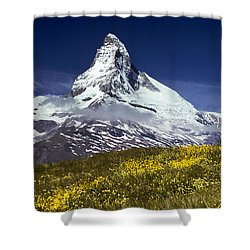 The Matterhorn With Alpine Meadow In Foreground Shower Curtain