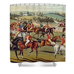'the Meet' Plate I From 'fox Hunting' Shower Curtain by Charles Senior Hunt