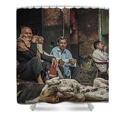 The Men Mourn Shower Curtain by Valerie Rosen
