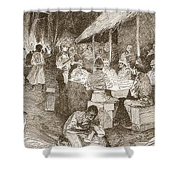 The Mess Table In The Forest Shower Curtain by Henry Charles Seppings Wright