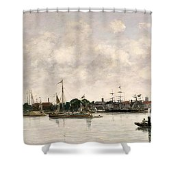 The Meuse At Dordrecht Shower Curtain by Eugene Louis Boudin