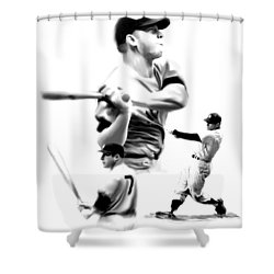 The Mick  Mickey Mantle Shower Curtain by Iconic Images Art Gallery David Pucciarelli