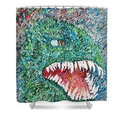 The Might That Came Upon The Earth To Bless - Godzilla Portrait Shower Curtain by Fabrizio Cassetta