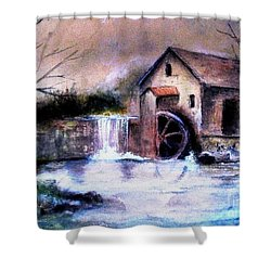Shower Curtain featuring the painting The Millstream by Hazel Holland