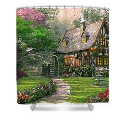 The Misty Lane Cottage Shower Curtain by Dominic Davison