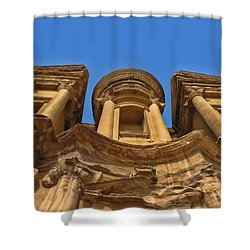 Shower Curtain featuring the photograph The Monastery In Petra by David Gleeson