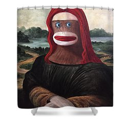 Shower Curtain featuring the painting The Monkey Lisa by Randol Burns