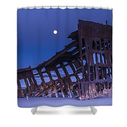 The Moon Sets Over The Wreck Shower Curtain