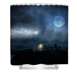 The Moon Touches Your Shoulder Shower Curtain by Taylan Apukovska