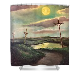 Shower Curtain featuring the painting The Moon With Three Crosses by Randol Burns