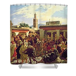 The Moroccan Storyteller Shower Curtain by Alfred Dehodencq