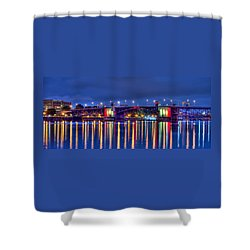 Shower Curtain featuring the photograph Morrison Bridge Reflections by Thom Zehrfeld