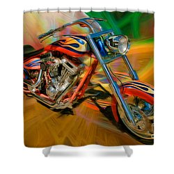 The Motorcyclerow Shower Curtain by Blake Richards