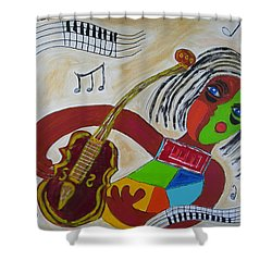 Shower Curtain featuring the painting The Music Practitioner by Sharyn Winters